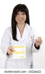A smiling doctor or pharmacist holds a prescription in one hand and medicine in the other.