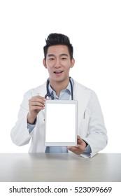 Smiling doctor working desktop tablet template mock up