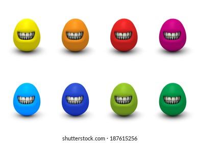 Smiling eggs - 3D