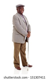 smiling elderly african man holding walking cane isolated on white