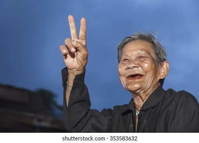 Smiling elderly people on countryside thailand