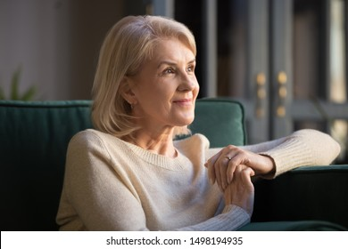 Smiling elderly woman look in distance feel cheerful positive remembering good old days, happy mature female sit on couch at home thinking, enjoying pleasant memories, recollecting or visualizing - Shutterstock ID 1498194935
