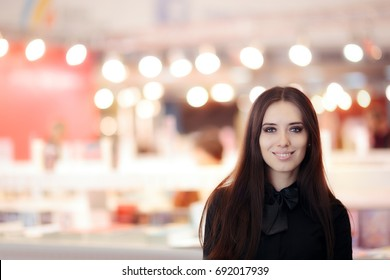 Smiling Elegant Woman Wearing  Black Shirt and Bow-tie Standing Indoors  - Beautiful girl welcoming guests to a formal event