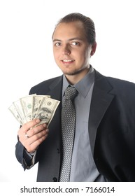 Smiling expressive Man with dollars, giving it to you