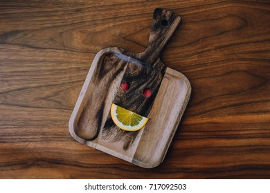 Smiling face made from fruits on a wood tray, Organic healthy food concept
