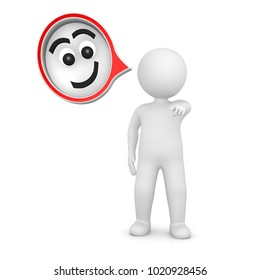 smiling face man happy positive person people speech bubble thought balloon isolated on white background 3d rendering
