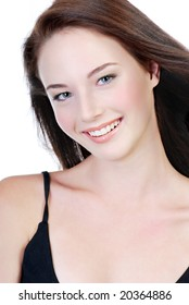 smiling face of young beautiful teen shot on white background