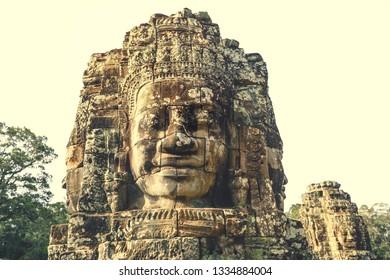 Smiling Faces of Bayon temple in Angkor Thom ancient ruin near Angkor Wat, Siem Reap, Cambodia