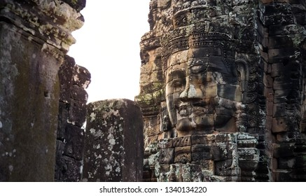 Smiling Faces of Bayon temple in Angkor Thom ancient ruin near Angkor Wat, Siem Reap, Cambodia. One of the most magnificent lost civilization in the world.
