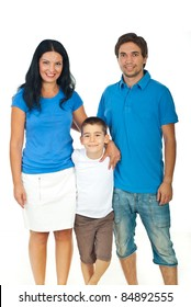 Smiling family bonding and wearing blank t-shirts together isolated on white background