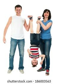 Smiling family having fun full body isolated on white
