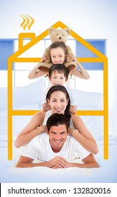 Smiling family leaning on each others shoulders in bed with yellow house graphic framing them