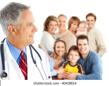Smiling family medical doctor and big family. Over white background