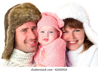 Smiling family in winter caps.  Ð¡lose-up portrait,  isolated on a white background