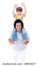 Smiling father giving piggyback ride to his little boy isolated on a white background