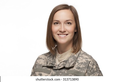 Smiling Female American Soldier on White Background