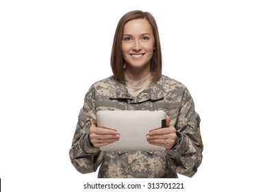 Smiling Female American Soldier with tablet on white background.