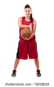 Smiling female basketball player with ball, isolated on white background