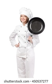 smiling female chef, cook or baker with frying pan looking up isolated on white background