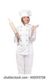 smiling female chef, cook or baker with rolling pin isolated on white background