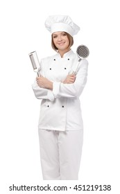 smiling female chef, cook or baker holding cooking tools isolated on white background