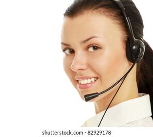Smiling female customer service operator,  studio shoot isolated on white