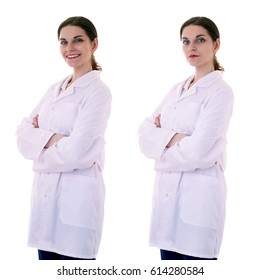 Smiling female doctor assistant scientist in white coat over white isolated background with crossed arms, healthcare, profession, science and medicine concept
