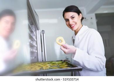 Smiling female engineer putting apples on food dryer dehydrator machine
