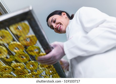 Smiling female food technician working on food dryer dehydrator machine