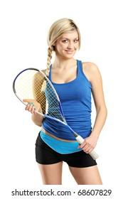 Smiling female squash player posing isolated against white background