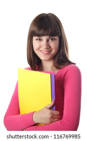 Smiling female student with folders isolated on white.