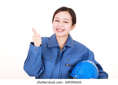 Smiling female worker