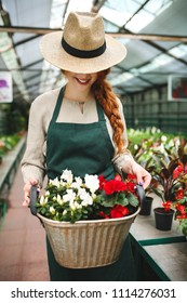 Smiling florist in apron and hat standing and holding flowers in metal basket while working in greenhouse