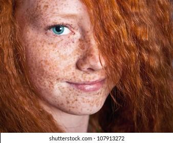 Smiling freckled girl