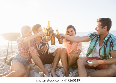 Smiling friends cheering with beer at the beach