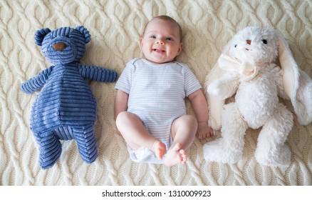 smiling funny baby girl lying on her back with her fur toys