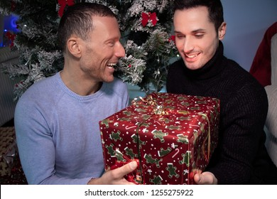Smiling gay couple exchange christmas gift in front of tree with red ribbons