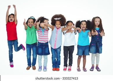 Smiling girl all standing in a row against a white background