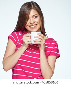 Smiling girl drink tea. Isolated white background female portrait.