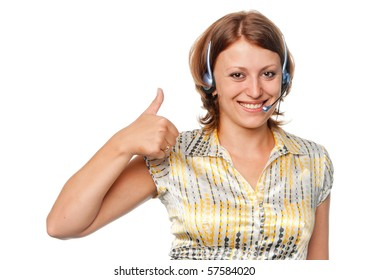 Smiling girl with ear-phones and a microphone