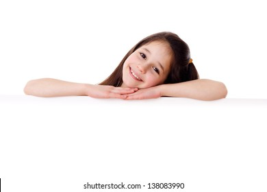 Smiling girl with empty horizontal blank, isolated on white