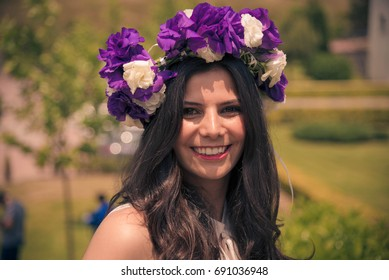 Smiling girl with floral crown
