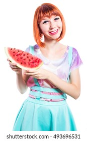 A smiling girl with an interesting make-up, with a slice of watermelon in hands.  on white  Isolated background