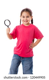 Smiling girl with magnifying glass, isolated on white