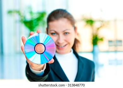Business card music stock photos images photography shutterstock the smiling girl the manager holds the empty business card before herself colourmoves