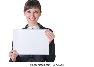 smiling girl with a notebook