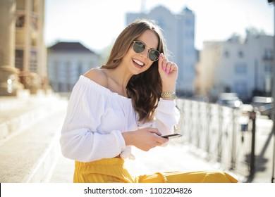 Smiling girl on the street