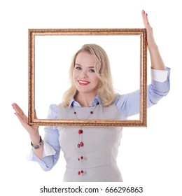 Smiling girl with picture frame, isolated on a white background