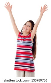 Smiling girl with raised hands, isolated on white