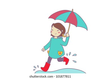 a smiling girl runs under the rain